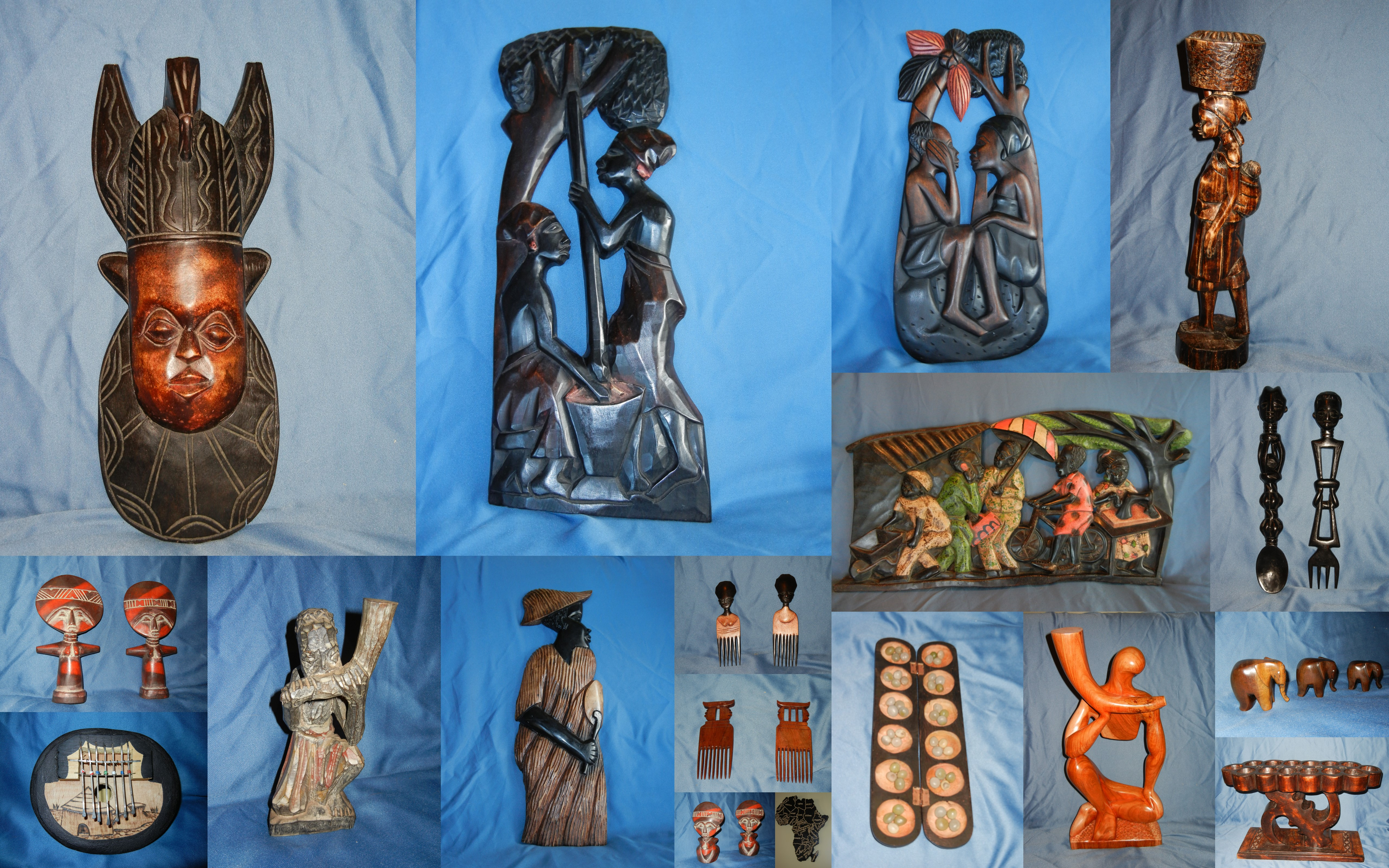 Handcrafted wooden carvings from Ghana, West Africa