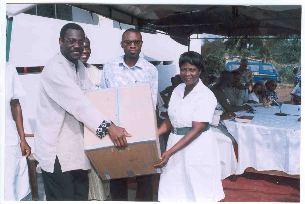 A donation of drugs and other supplies valued at $40,000 US was made to Ankaful Psychiatric Hospital at the opening of Elmina - Java Museum.From L-R are Prof. Ulzen, Mr. AKN Clement(Chairman, EAUMF) An administrator from the hospital and Nursing sister Vandyke.