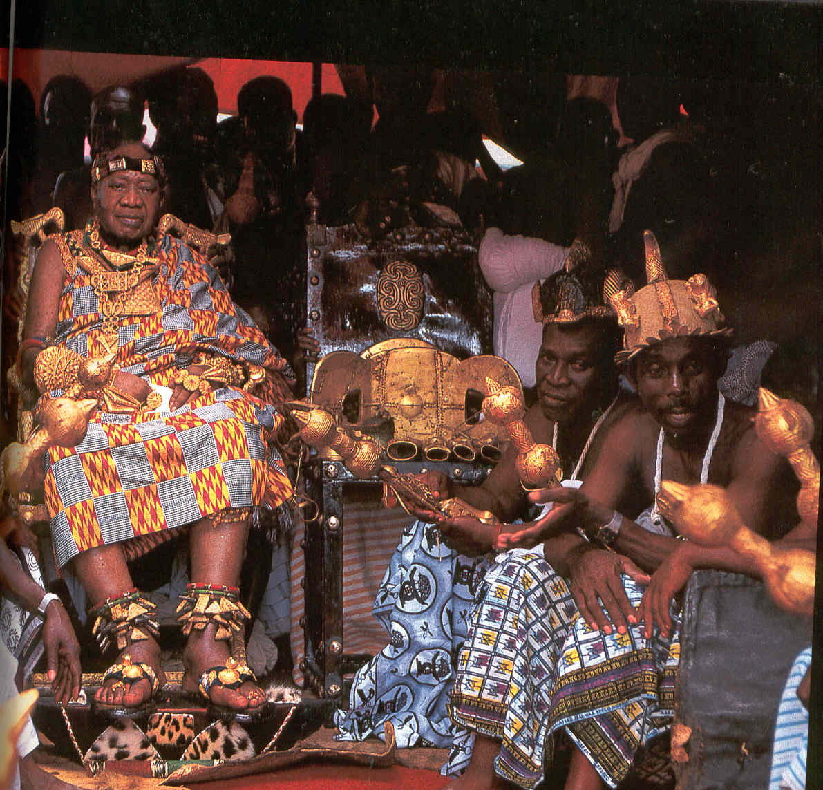 Otumfuo(most powerful)Opoku Ware II with Golden Stool on his Silver Jubilee