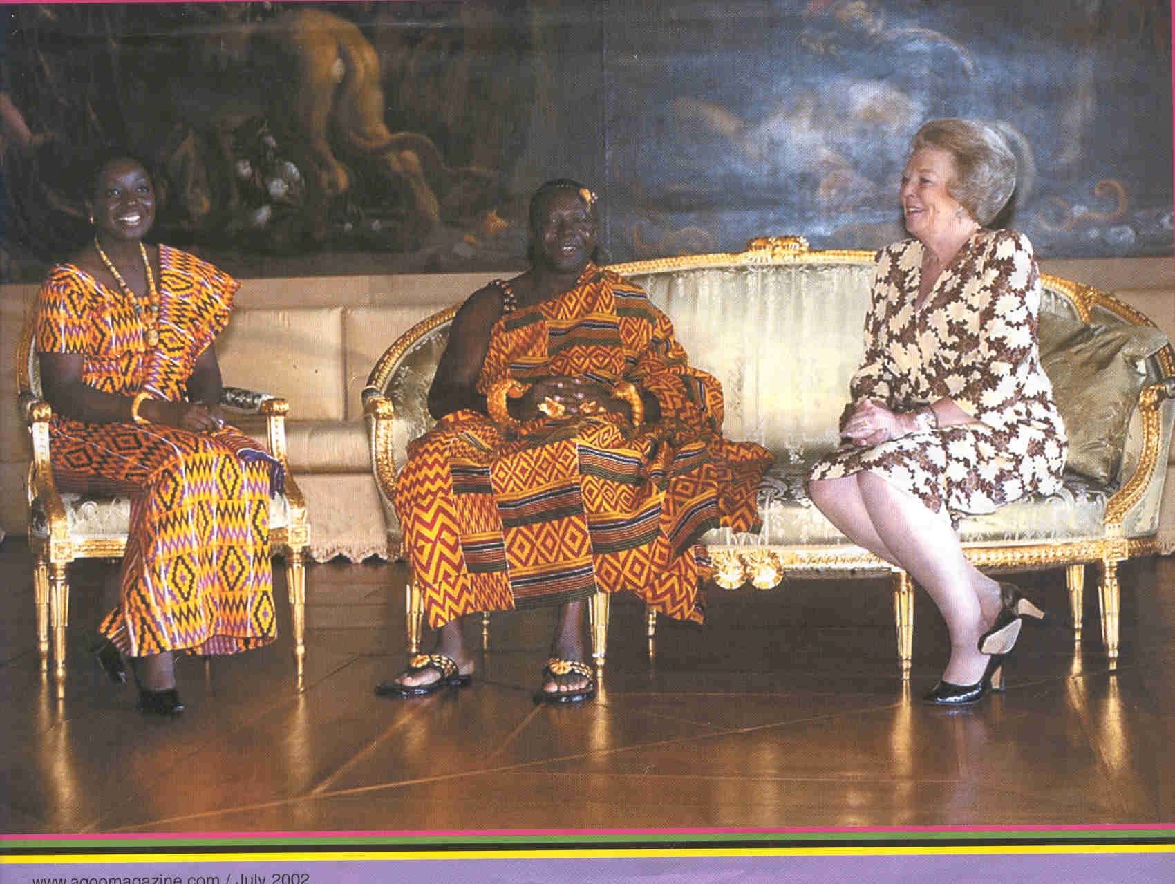 Otumfuo Osei Tutu II (centre) his wife Lady Julia (L) and Queen Beatrix of Netherlands (R)